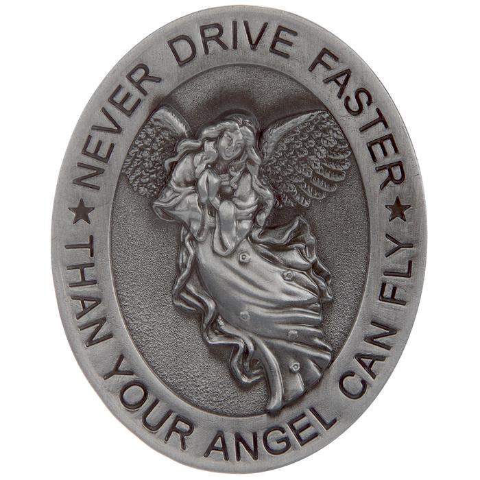 Sherman Never Drive Faster Than Guardian Angel Full Color Silver Frame Auto Visor Clip H J