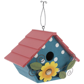Polka Dot Wood Birdhouse With Flower