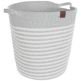 White & Gray Striped Basket