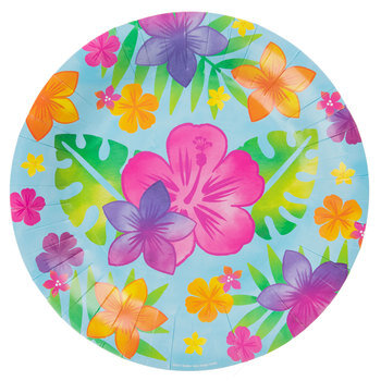 Hibiscus Flower & Palm Leaf Paper Plates