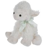 White Lamb With Green Bow Plush