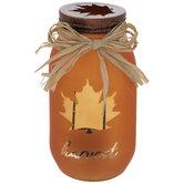 Orange Harvest Glass Jar Candle Holder