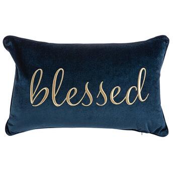 Navy & Gold Blessed Velvet Pillow