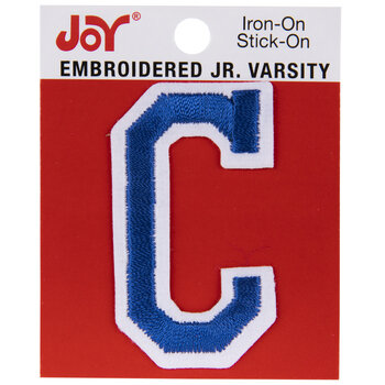 "Blue Junior Varsity Letter Iron-On Applique C - 2"""