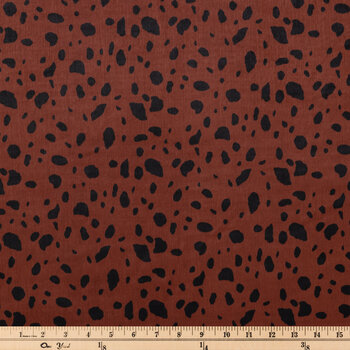 Brown & Black Leopard Print Poly Satin Fabric