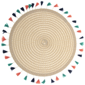 Ivory Round Placemat With Tassels