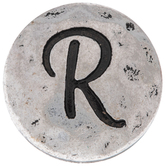 Hammered Letter Mini Snap Charm - R