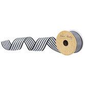 "Black & White Striped Wired Edge Ribbon - 1 1/2"""