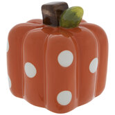 Orange & White Polka Dot Square Pumpkin