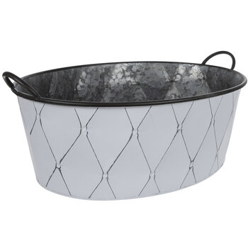 White Diamond Galvanized Metal Planter