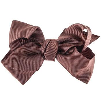 Chocolate Brown Grosgrain Bow Hair Clip