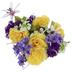 Purple & Yellow Rose, Lily & Hydrangea Bush