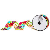 Floral Double-Face Satin Ribbon - 1 1/2""
