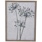Gray, White & Green Floral Canvas Wall Decor