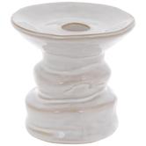 White Glazed Pedestal Candle Holder