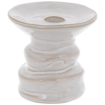 White Glazed Pedestal Candle Holder