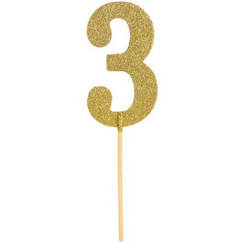Gold Glitter Number Cake Topper - 3