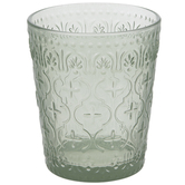 Green Trellis Glass Candle Holder