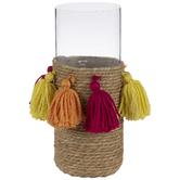 Magenta, Orange & Yellow Woven Tassel Glass Vase