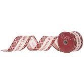 "Merry Christmas Plaid Wired Edge Burlap Ribbon - 2 1/2"""