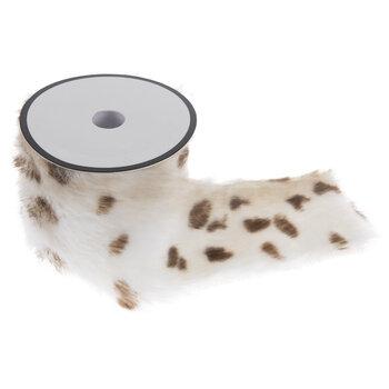 White & Brown Leopard Faux Fur Trim