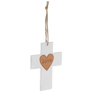 Love White Wood Wall Cross
