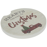Hearts Come Home For Christmas Car Coaster