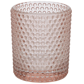 Pink Dot Textured Glass Candle Holder
