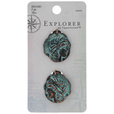 Patina Side Profile Coin Charms