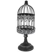 Gray Metal Pedestal Birdcage