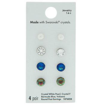 Swarovski Crystal & Plastic Pearl Earrings