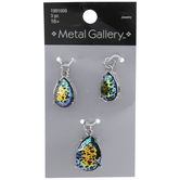 Iridescent Spotted Glass Teardrop Charms