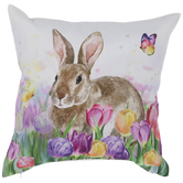 Bunny & Tulips Pillow Cover