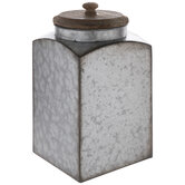 Rustic Galvanized Metal Canister