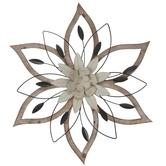 Beige & Brown Floral Metal Wall Decor