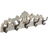 Distressed Green Wood Wall Decor With Hooks