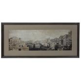 Sepia Tone Cityscape Framed Wall Decor