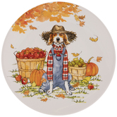 Dog In Overalls Autumn Plate