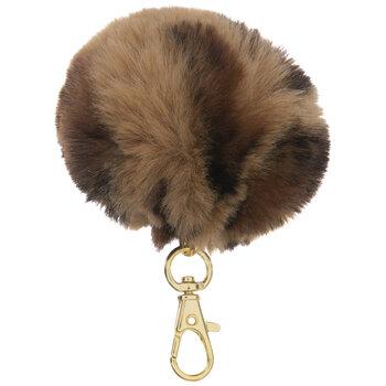 Brown & Black Leopard Fuzzy Pom Pom Keychain