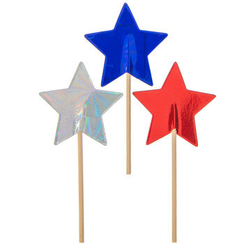 Red, Silver & Blue Foil Star Cupcake Toppers