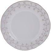 White & Terra Cotta Leaves Plate