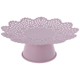 Pink Scalloped Metal Cake Stand - Small