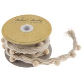 "Natural Beaded & Braided Jute Ribbon - 11/16"""