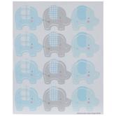 Blue & Gray Plaid Elephant Envelope Seals