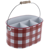 Red & White Buffalo Check Metal Caddy