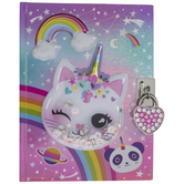 Unicorn Cat Diary With Lock & Key