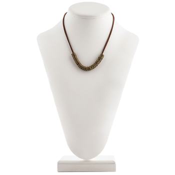 Brown Suede Cord Necklace with Jump Ring Focal