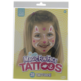 Pink Bunny Temporary Face Tattoos