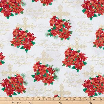 O Come All Ye Faithful Poinsettia Cotton Fabric