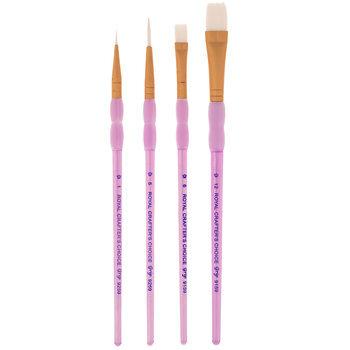 White Taklon Round & Shader Paint Brushes - 4 Piece Set